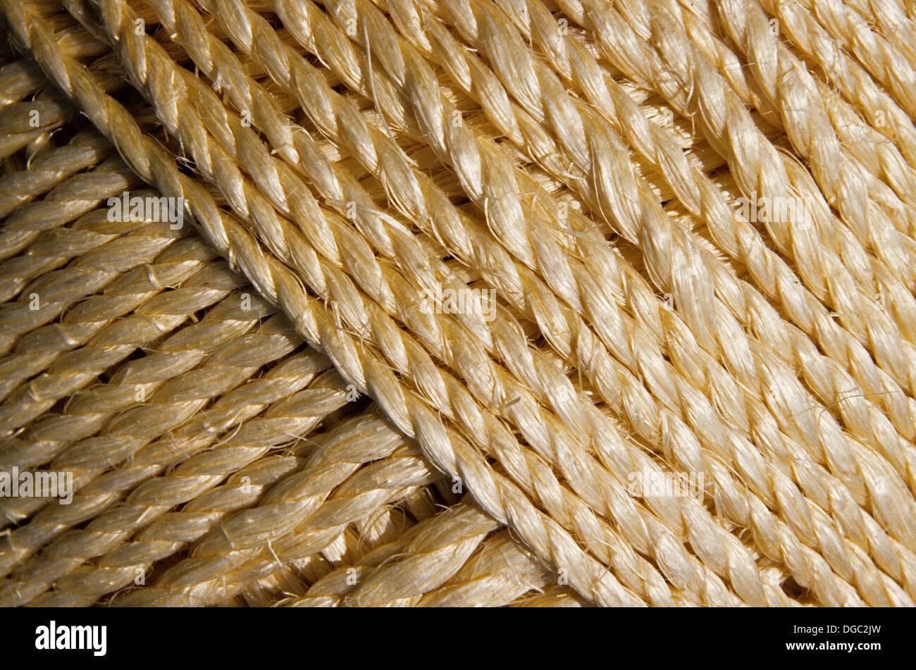 Stringa di spago corda di canapa intrecciata cavo Immagini Stock