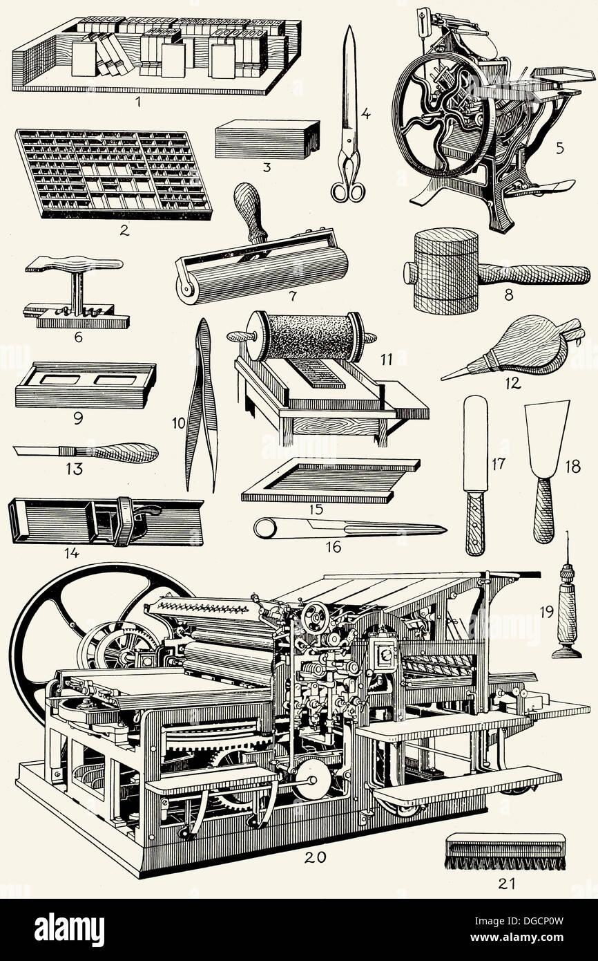 Vecchi strumenti di tipografia Immagini Stock