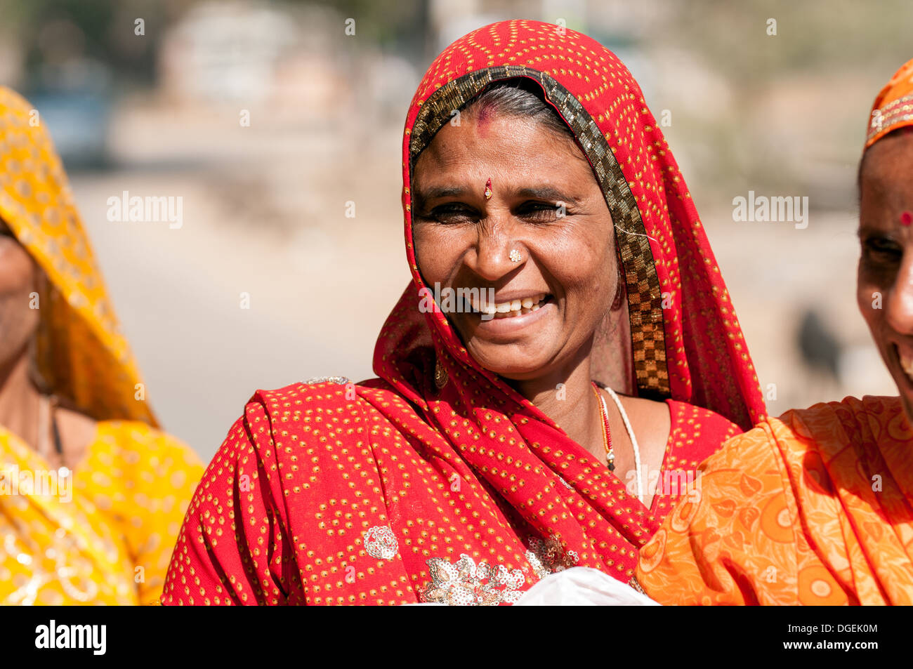 Rajasthani sorridente donna Immagini Stock