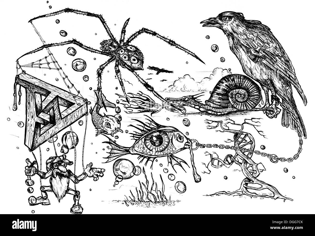 Surreale penna e inchiostro doodle disegnato da me stesso Immagini Stock