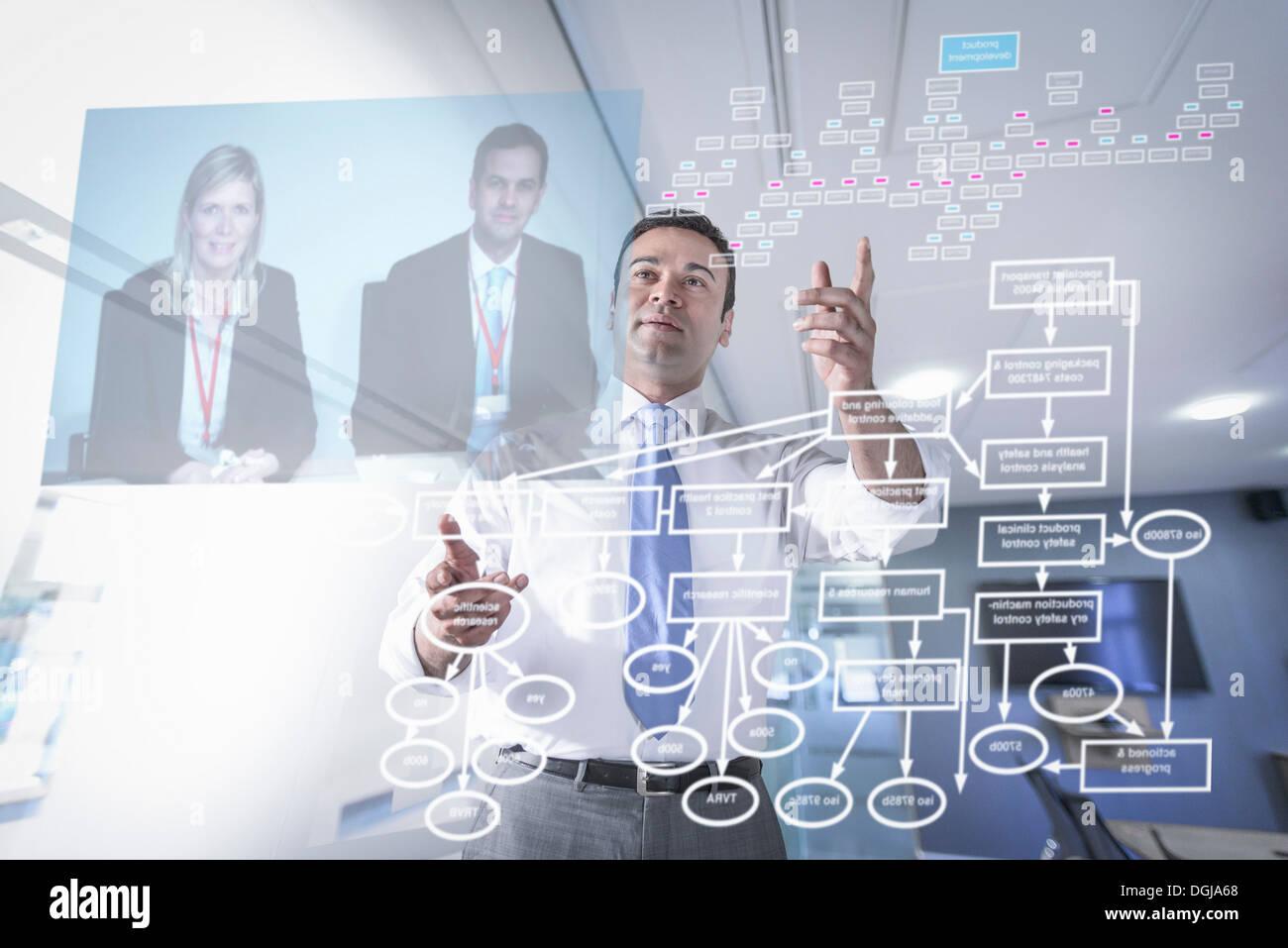Imprenditore in video conferenza, visualizzare attraverso lo schermo Immagini Stock