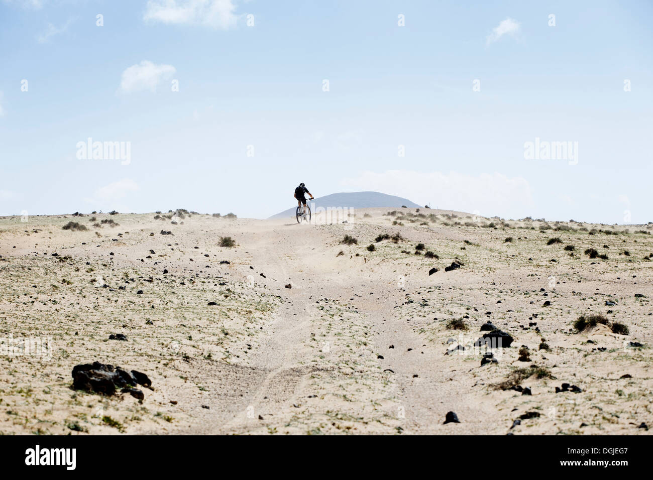 L'uomo mountain bike, Lanzarote Immagini Stock
