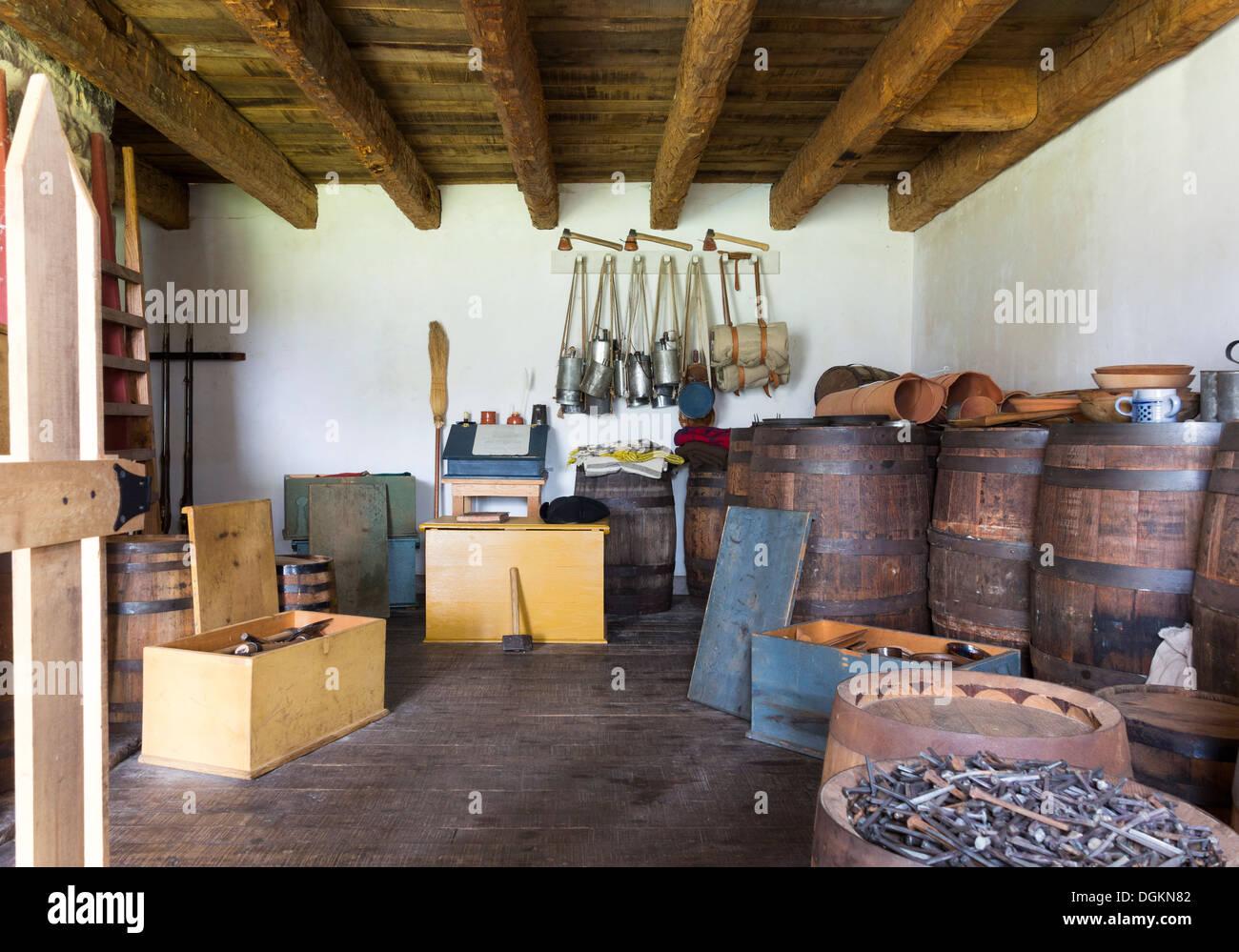 Archiviare archiviazione gun powder room di Fort Frederick Maryland come in francese Indian; la guerra rivoluzionaria americana di indipendenza Immagini Stock