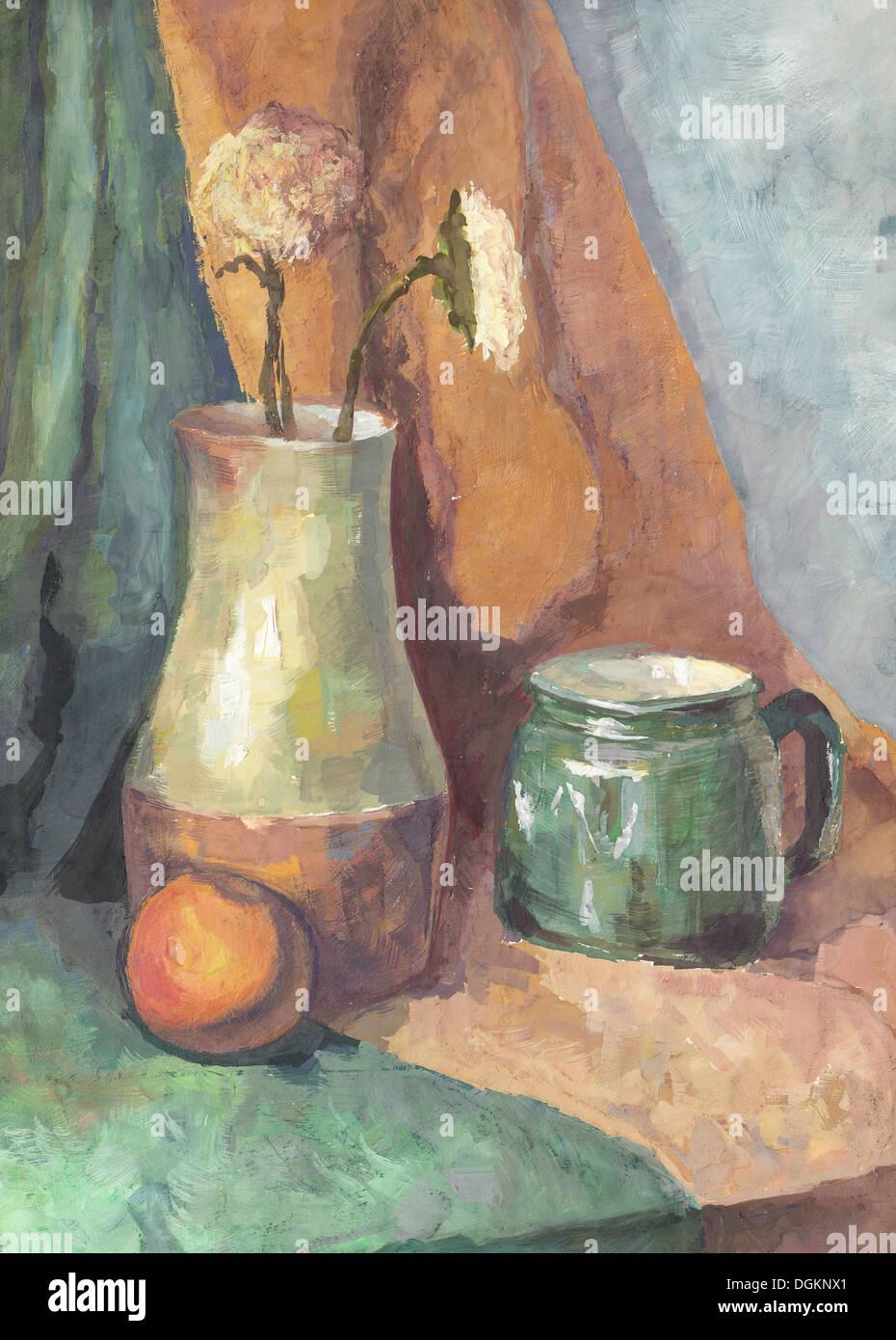 Still Life: fiori nella brocca e tazza. La pittura. Gouache su carta Immagini Stock