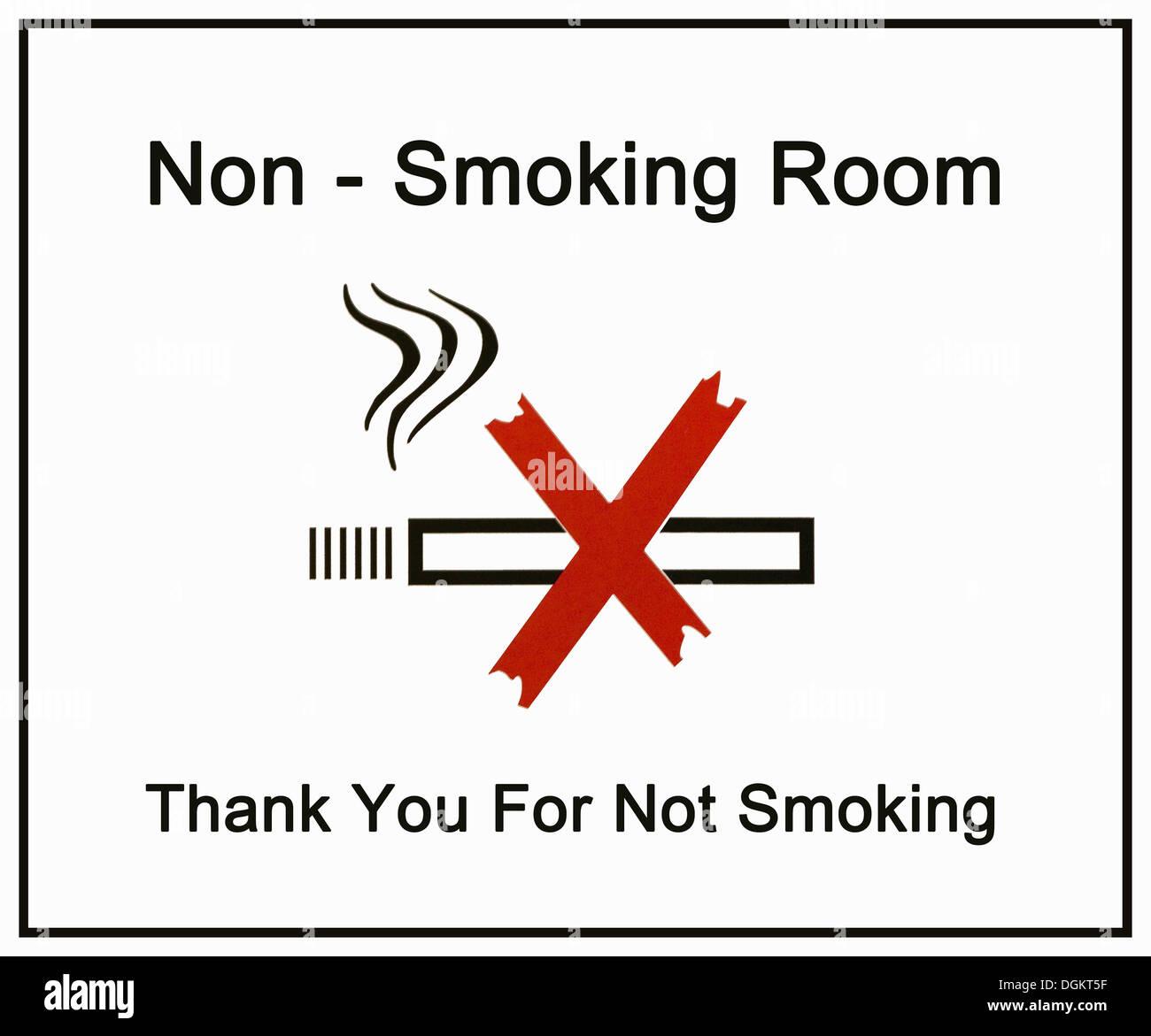 Segno, Non-fumatori Camera, grazie per non fumatori Immagini Stock