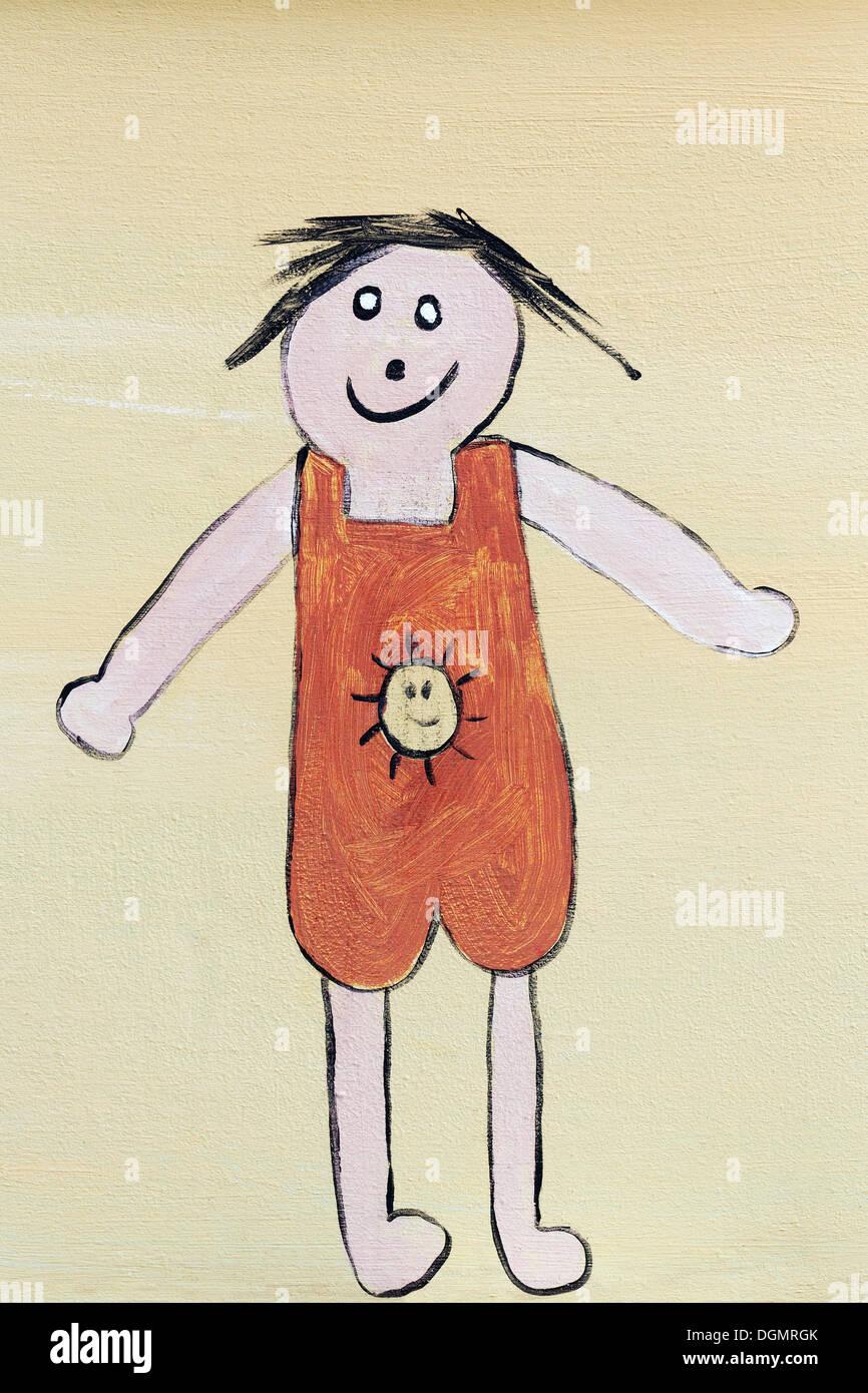 Ragazza in un pezzo unico costume da bagno, di disegno per bambini, Zoutelande, Provincia di Zeeland, Paesi Bassi Immagini Stock