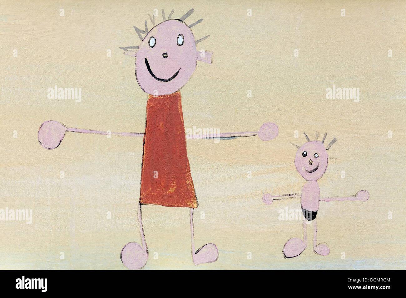 Costumi Da Bagno Per Bambini : La madre in un vestito e un figlio in costume da bagno di disegno