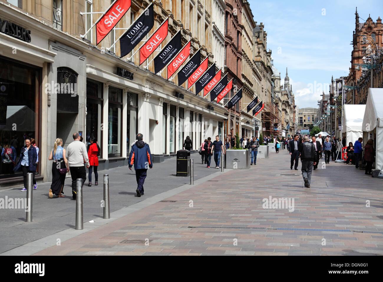 Buchanan Street zona pedonale per lo shopping nel centro della città di Glasgow, Scotland, Regno Unito Immagini Stock