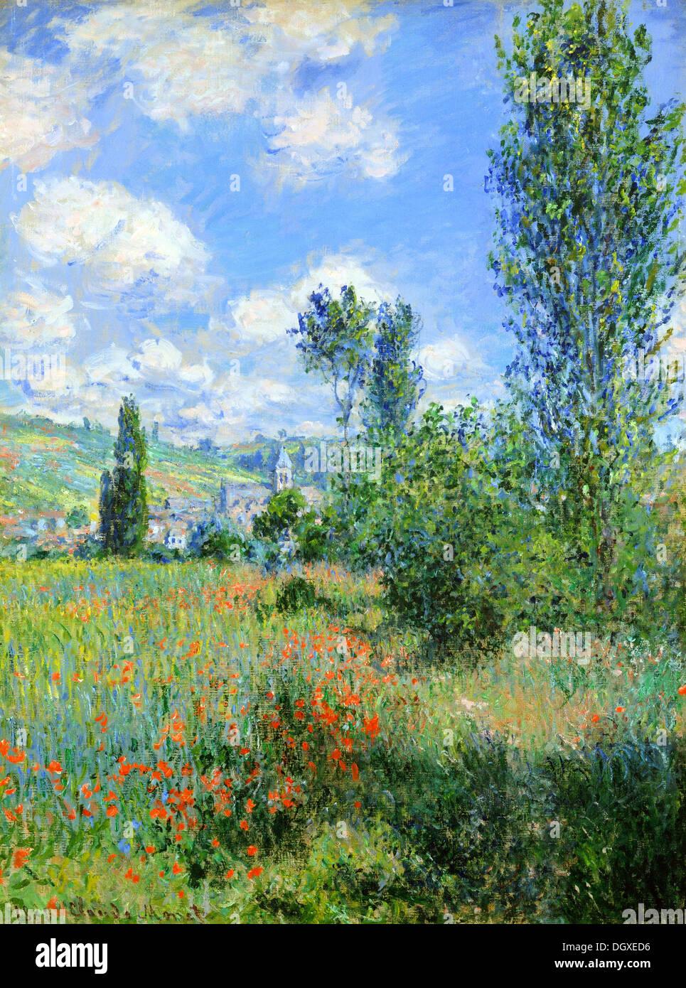 Vista di Vétheuil - di Claude Monet, 1880 Immagini Stock