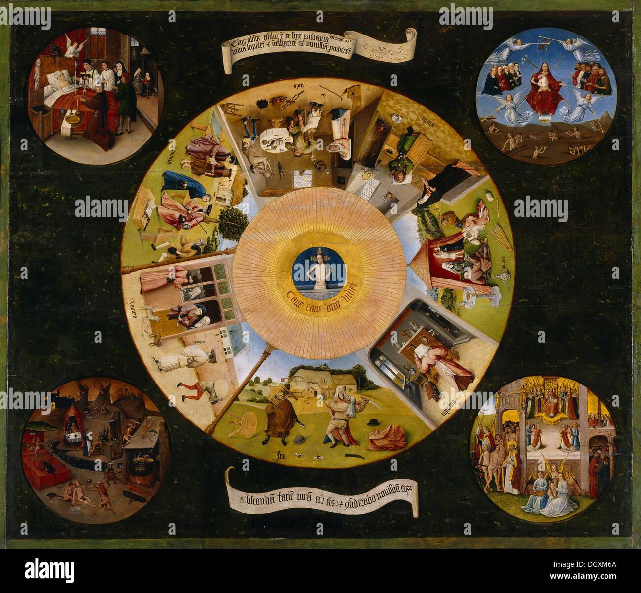 I sette peccati capitali e le quattro cose ultime - da Hieronymus Bosch, 1500 - solo uso editoriale. Immagini Stock