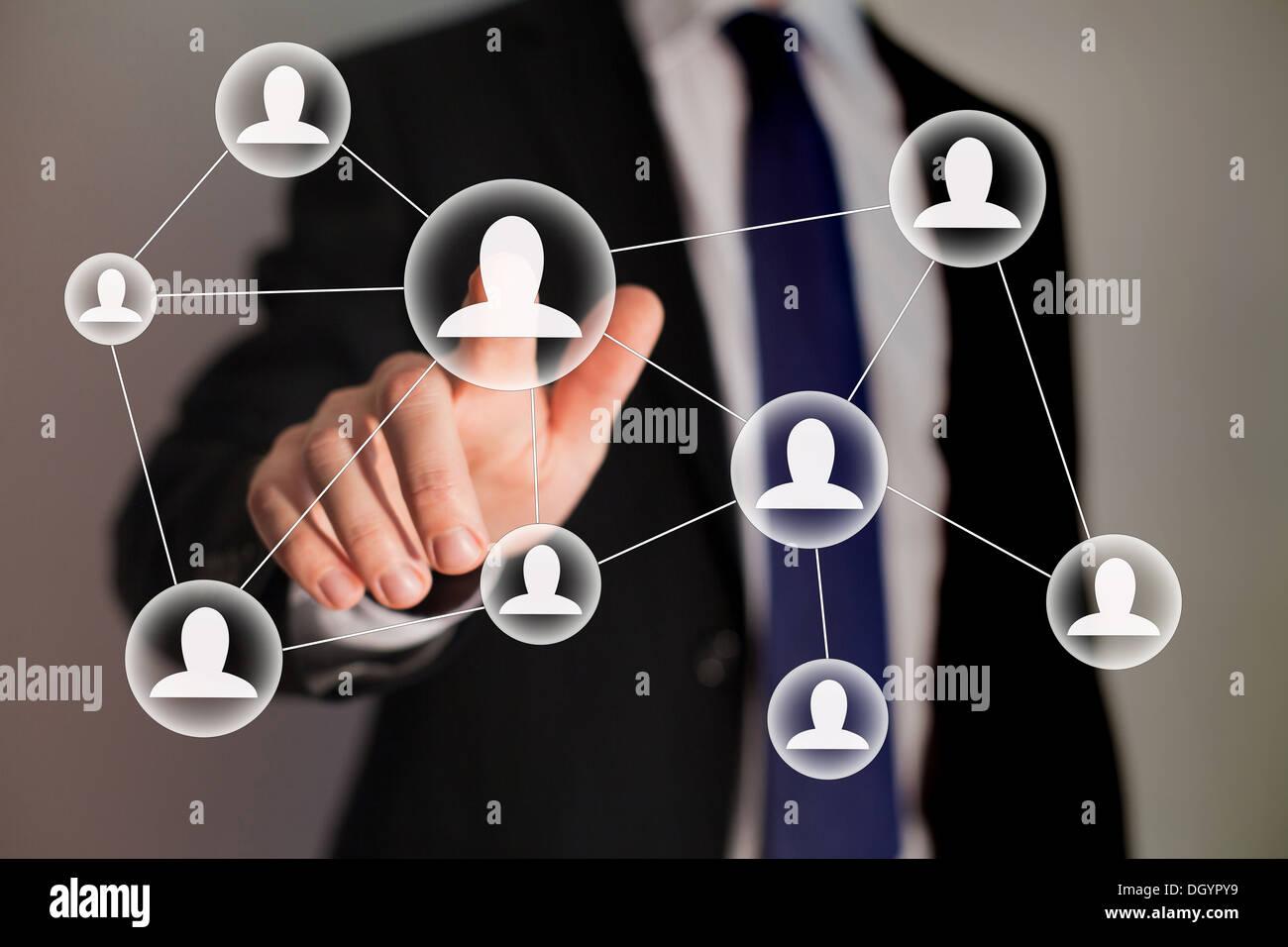 Rete sociale e di tecnologie aziendali Foto Stock