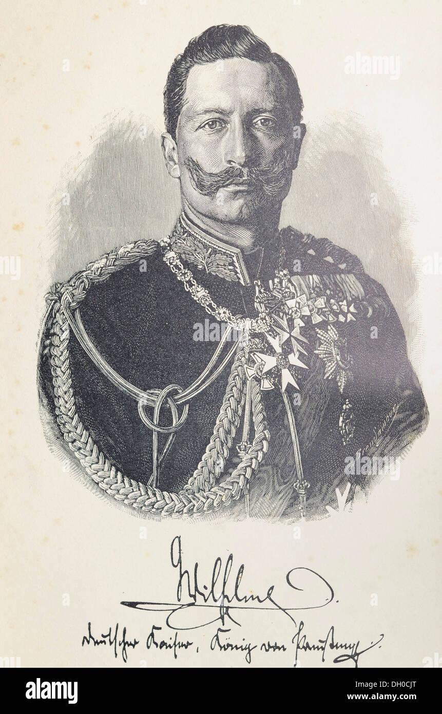 Illustrazione, litografia, ritratto di Kaiser Friedrich Wilhelm II con un facsimile della firma, dopo la fotografia originale da Immagini Stock