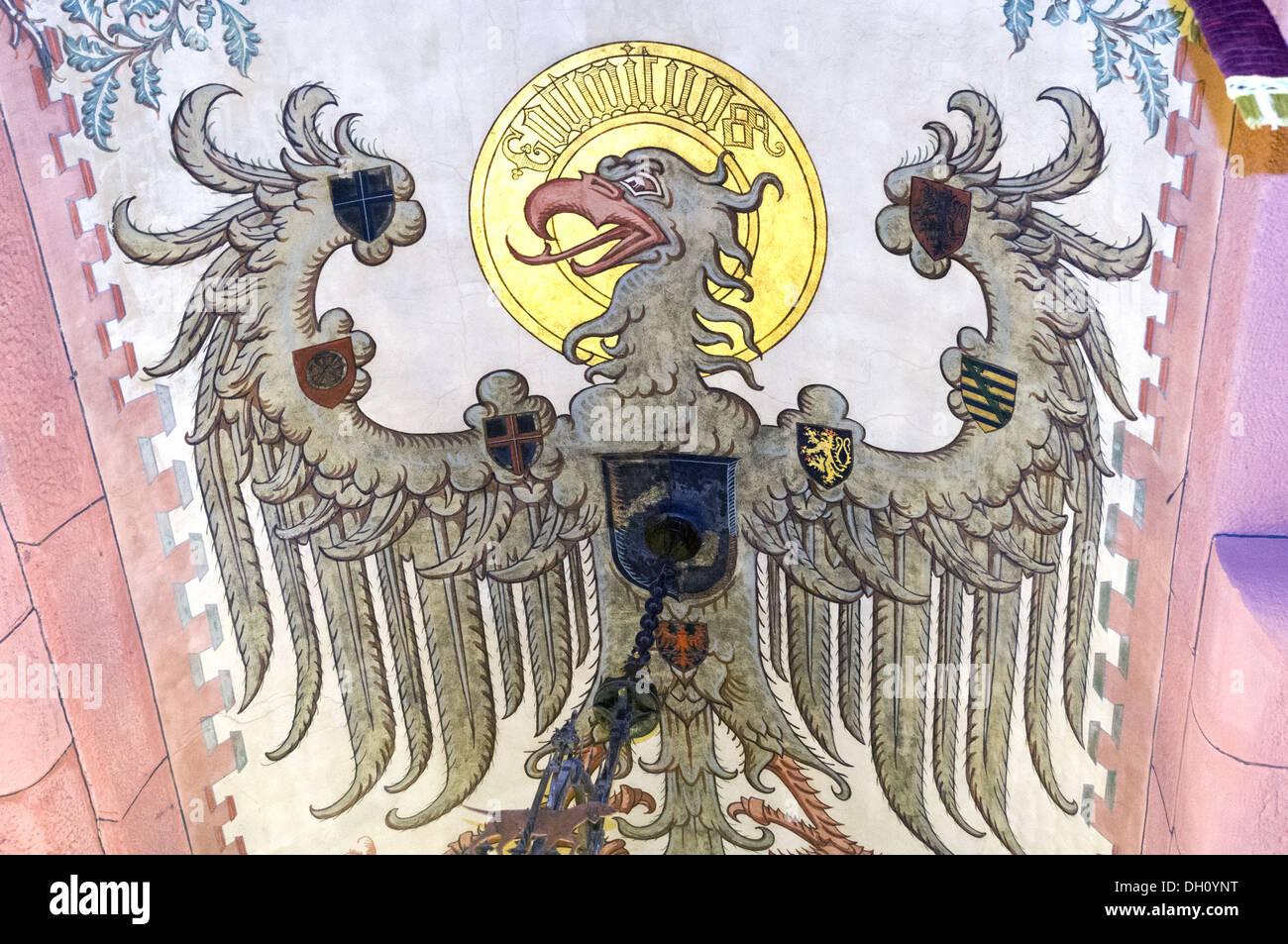 Elk213-1917 Francia, Alsazia, Haut Koenigsbourg Chateau, xv c, soffitto dipinto Immagini Stock