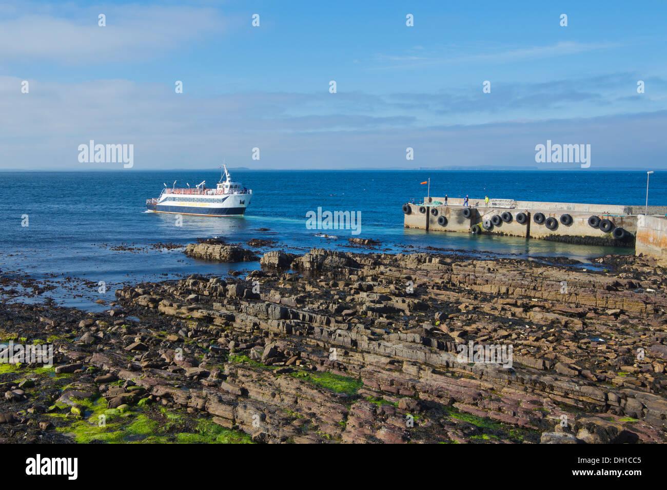 John O Groats Harbour, Pentland Venture Orkney ferry, costa, regione delle Highlands, Scotland, Regno Unito Foto Stock
