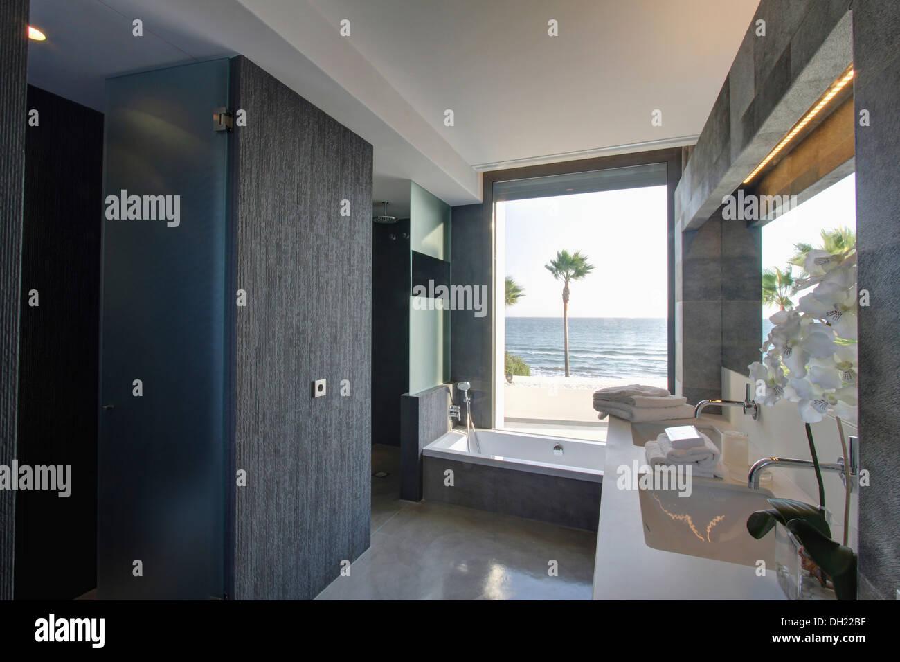 Vasca Da Bagno In Spagnolo : Grande armadio grigio in spagnolo moderno bagno con vasca sotto la