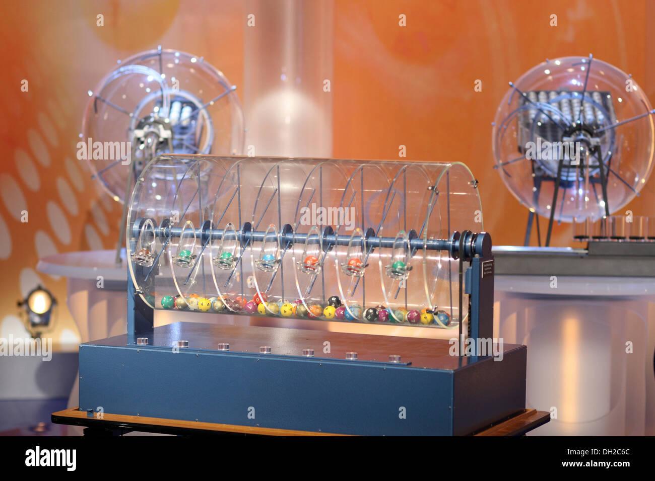 Attrezzature per il disegno dei numeri del Lotto del Wette Super 6 nella ZDF studio televisivo, Mainz, Renania-Palatinato Immagini Stock