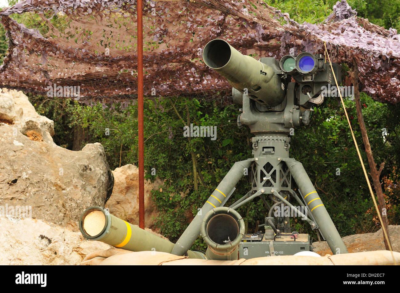 Il tubo ha lanciato otticamente trcked filo comandato BGM-71 stoppa, sviluppato negli Stati Uniti, Mleeta, Museo di Hezbollah, Sud Libano Immagini Stock