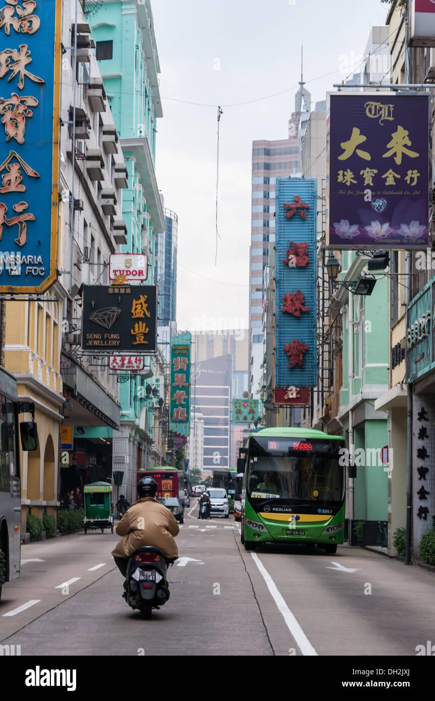 Le strade e gli edifici di Macau, Cina. Immagini Stock