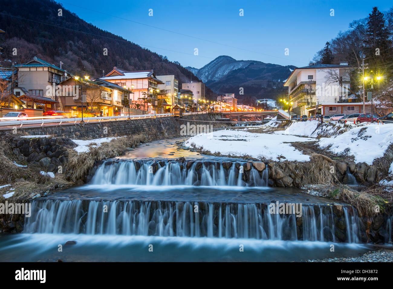 Molle nella piccola cittadina di Shibu, Nagano, Giappone. La città è famosa per le sue sorgenti di acqua calda. Immagini Stock