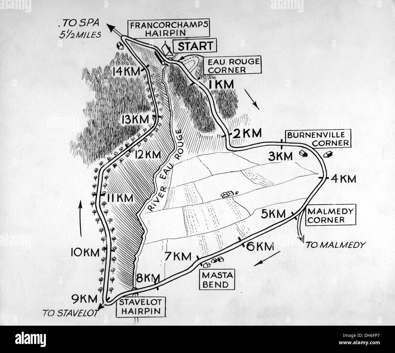 Circuito Spa : Mappa del circuito di spa francorchamps in belgio. 1960s foto