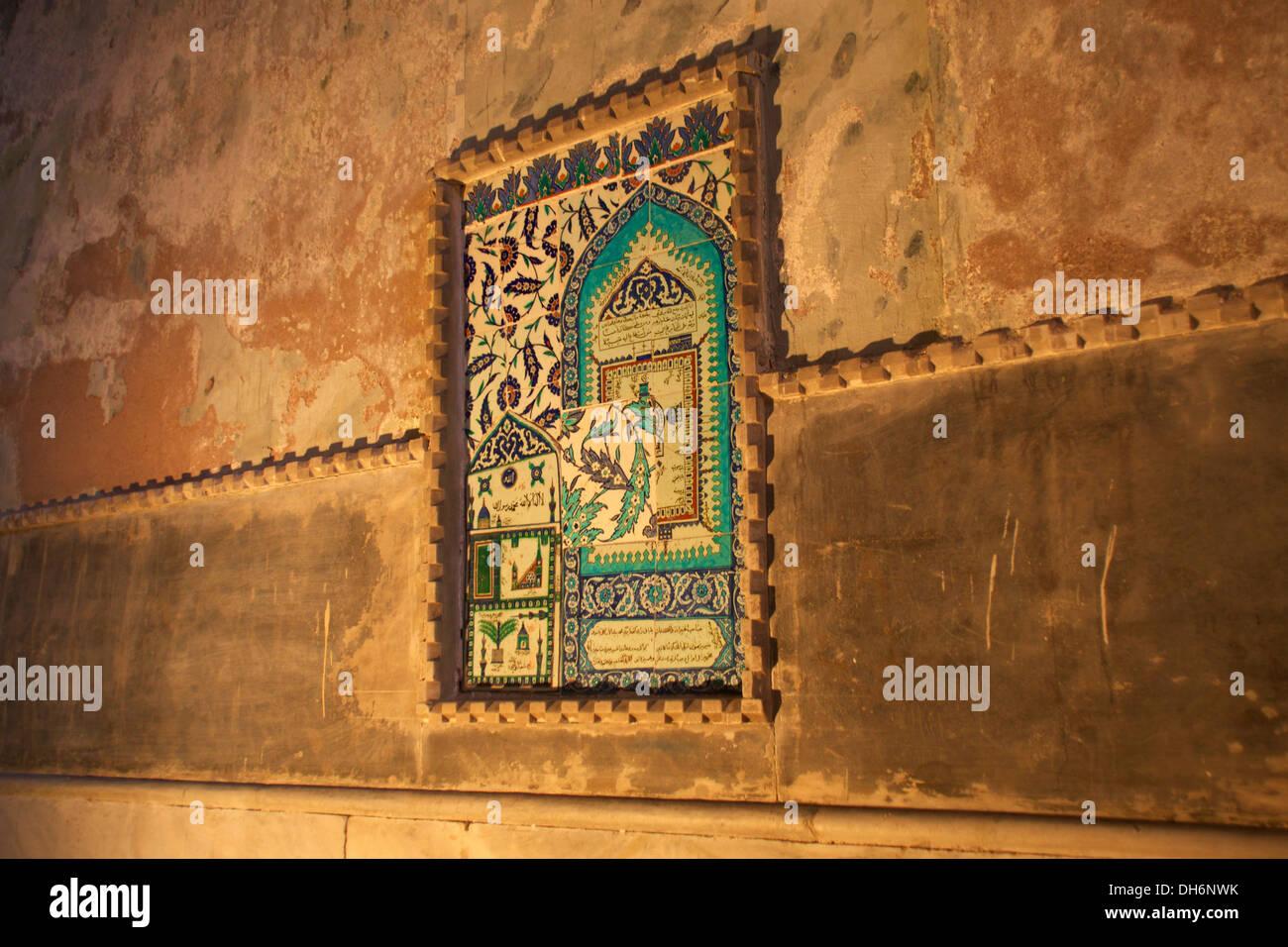 Pannello di piastrelle raffigurazione della sacra kaaba della