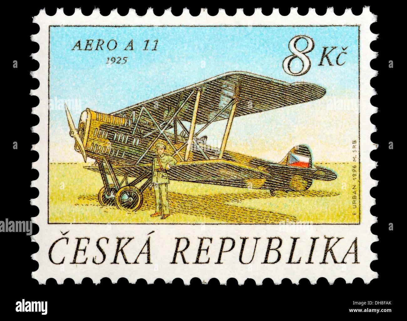 Repubblica ceca francobollo: Aero A-11 (1925) cecoslovacca bombardiere biplano Immagini Stock