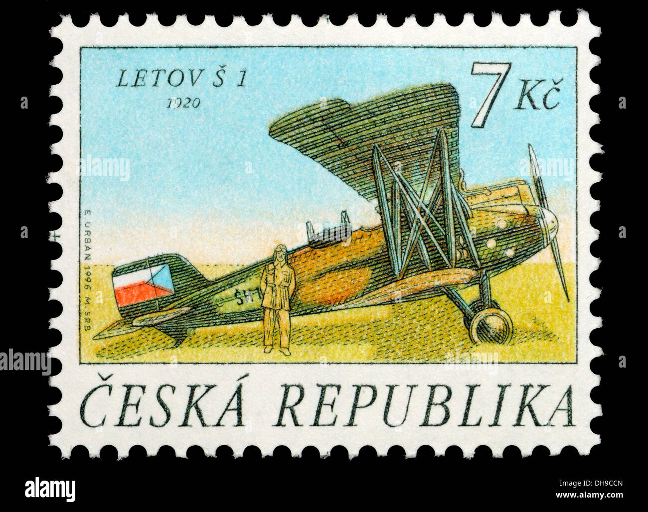 Repubblica ceca francobollo: Letov S-1 (1920) cecoslovacco di monoposto con motore a due sede biplanare aeromobili di sorveglianza Immagini Stock