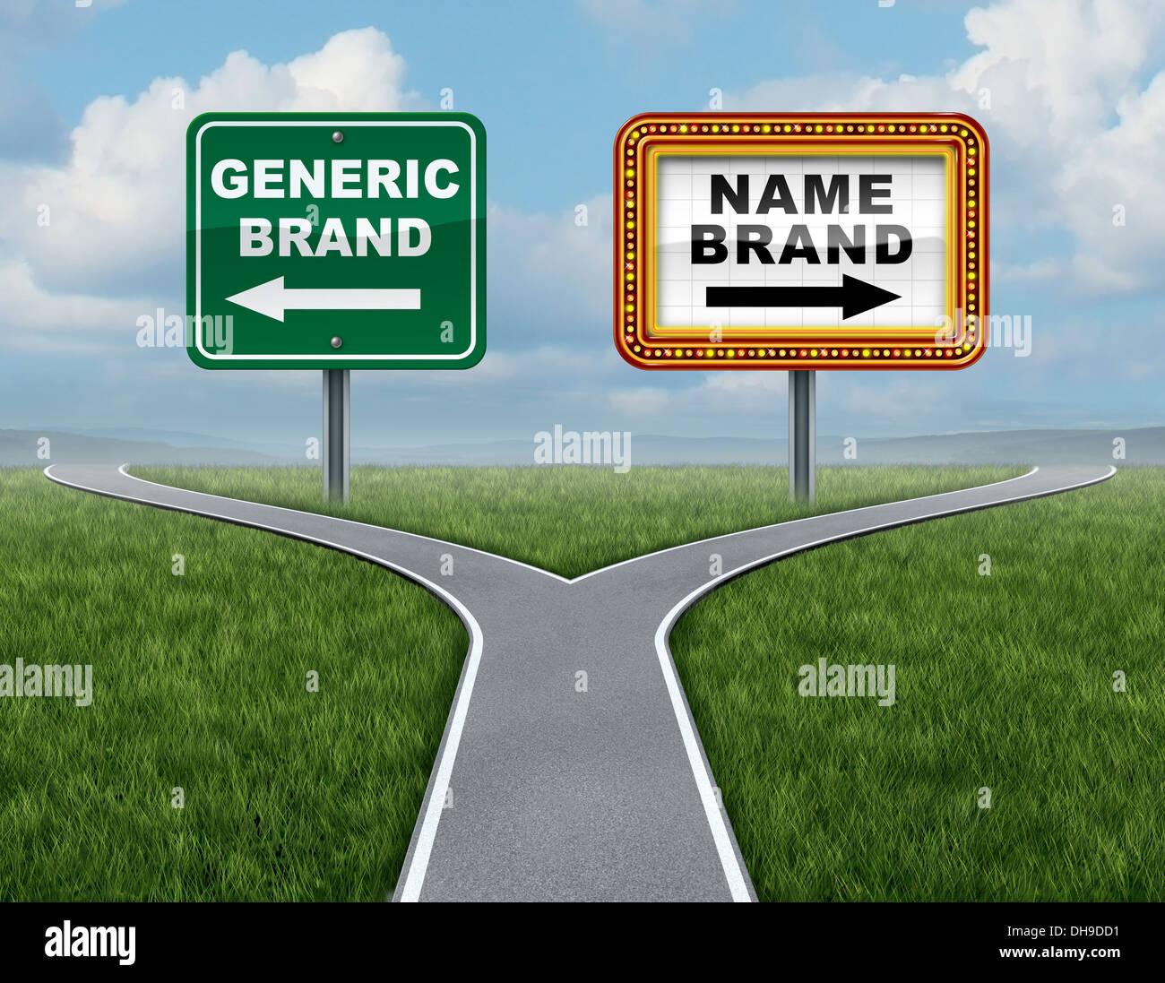 Marchio generico rispetto al marchio come un concetto di marketing con due concorrenti segni di strada in corrispondenza di un incrocio di strade o la forcella in strada Immagini Stock