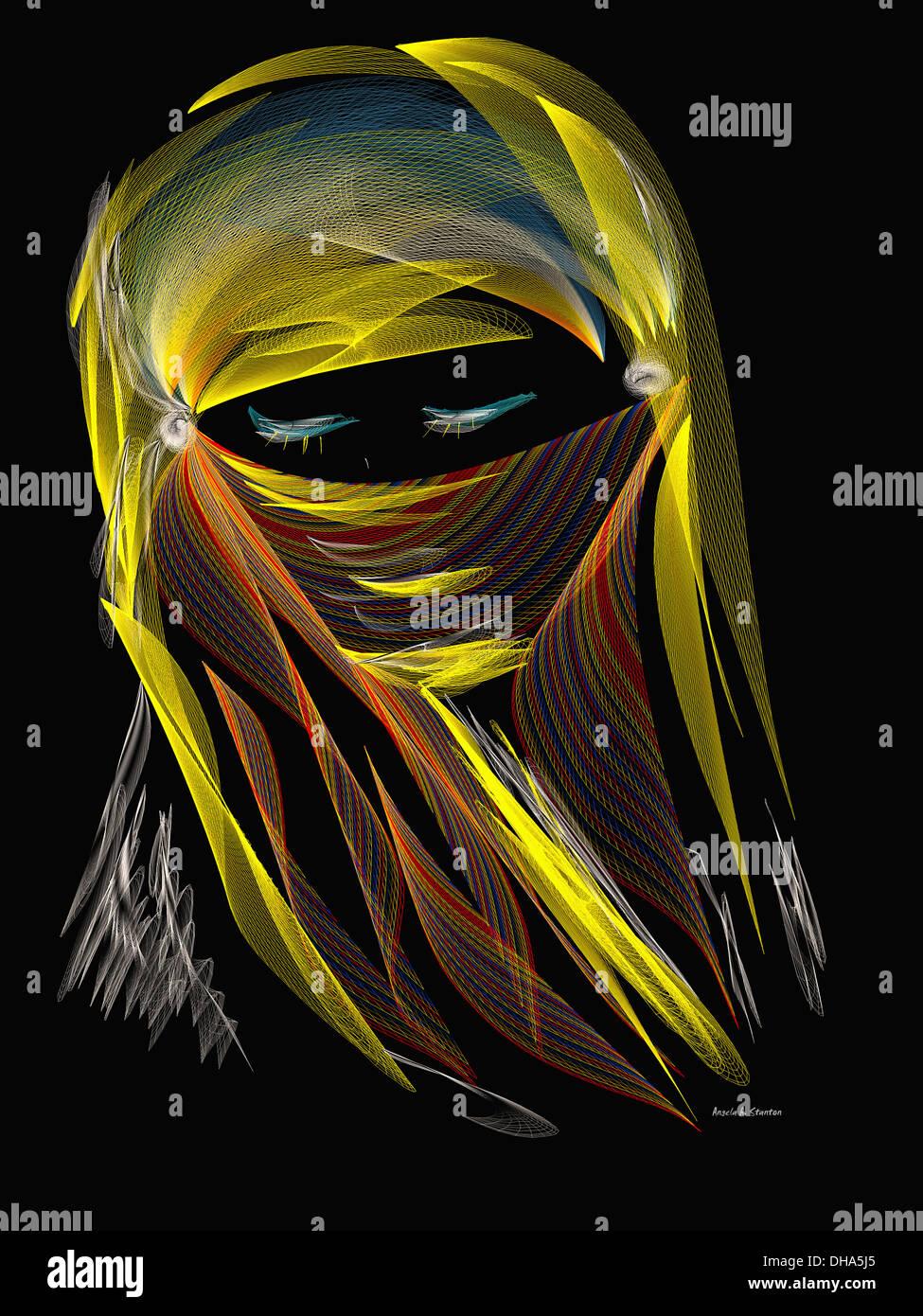 Computer immagine generata di un Occhi di donna del peering da un velo Immagini Stock