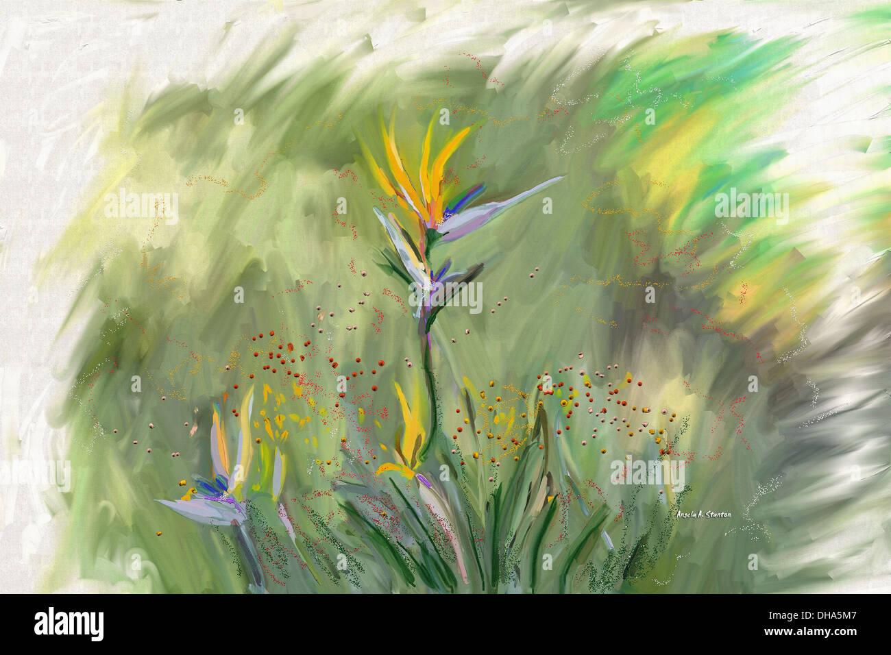 Computer immagine generata di fiori Immagini Stock