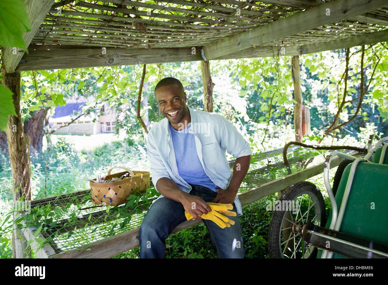 Una fattoria la coltivazione e vendita di ortaggi e frutta. Un uomo al lavoro. Immagini Stock