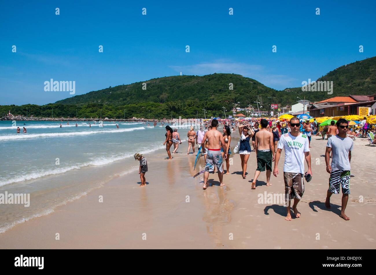 Molto affollata spiaggia su Ilha Catarina (Santa Catarina Island), Stato di Santa Catarina, Brasile Immagini Stock