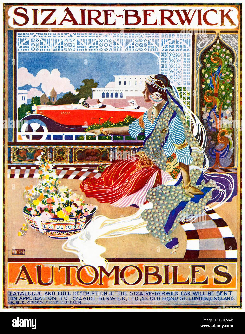 Sizaire Berwick Automobiles, 1919 annuncio per le automobili inglesi in una rivista indiana, una principessa orologi per una sola unità passato con la memsahib Immagini Stock