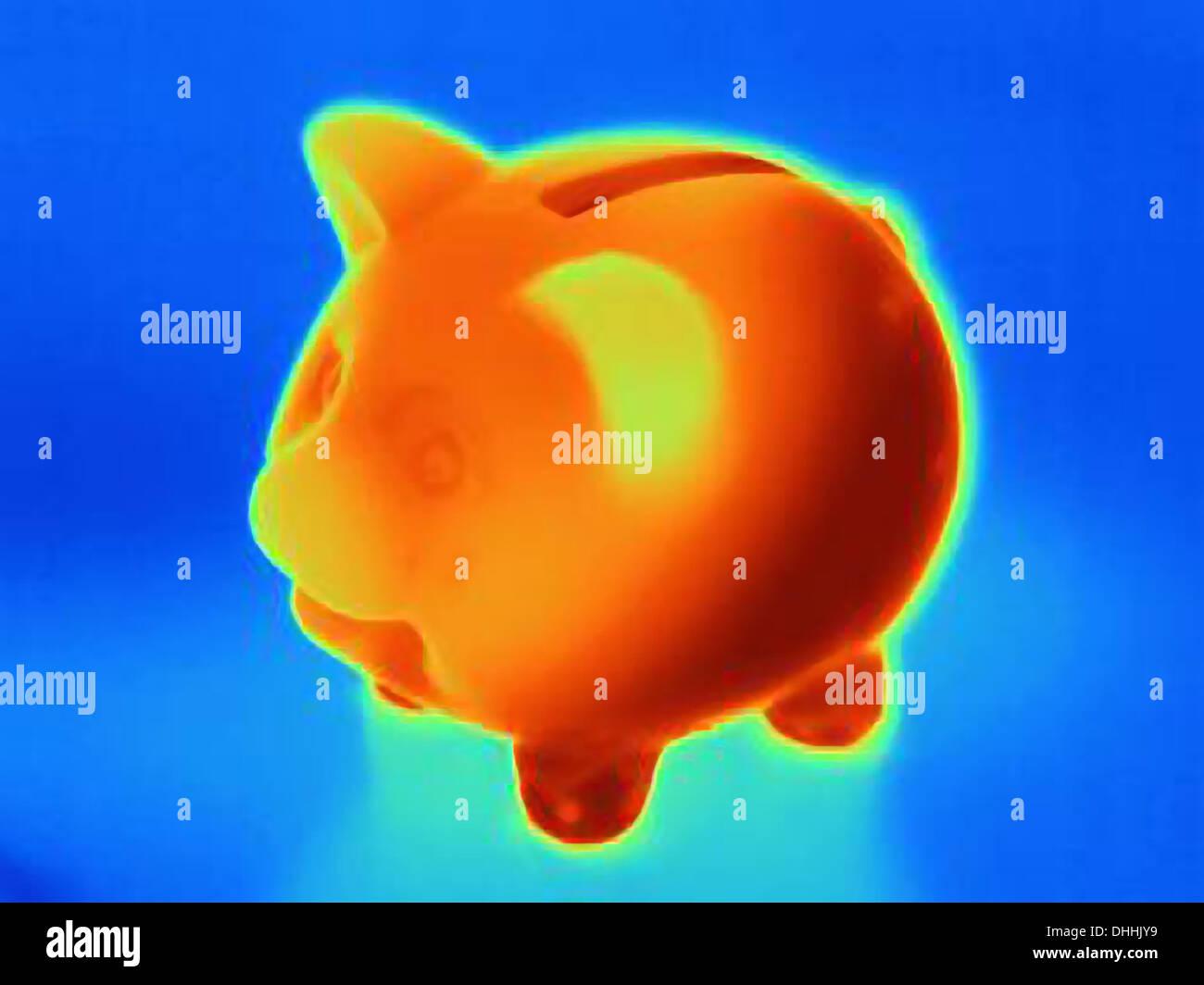 Fotografia termica del salvadanaio Immagini Stock
