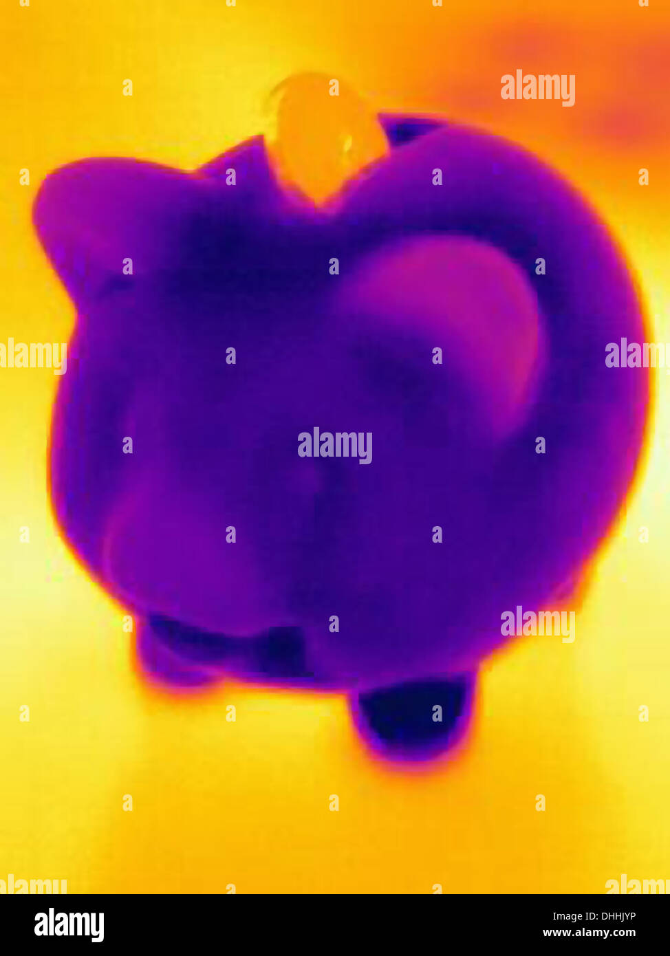 Fotografia termica del salvadanaio con moneta Immagini Stock