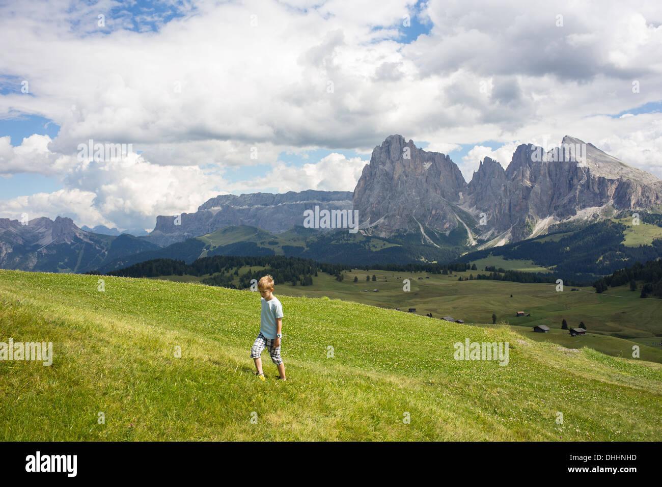 Ragazzo a piedi su per la collina, Alto Alige, Alto Adige, Italia Immagini Stock