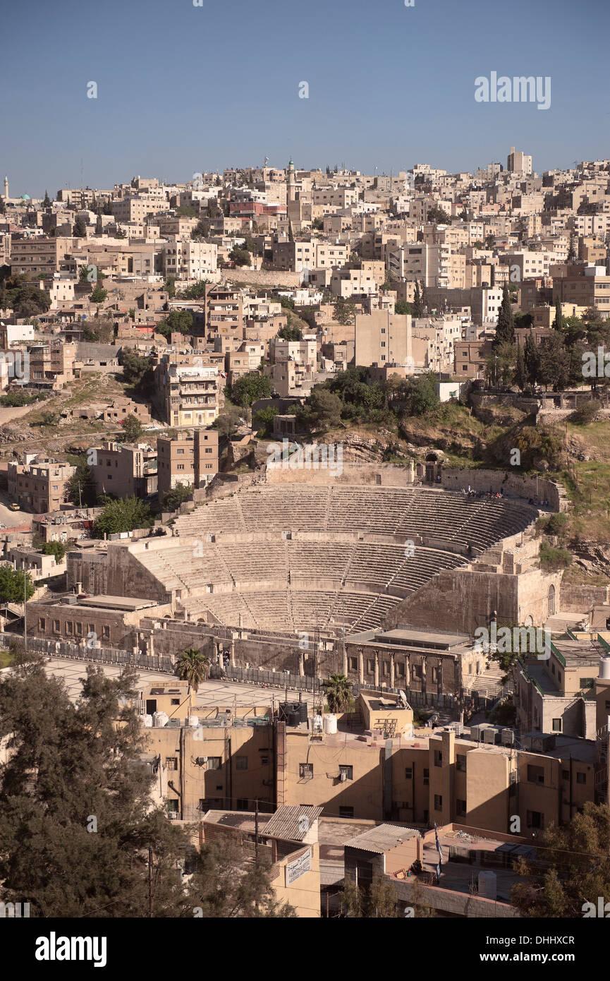 Teatro romano nel centro della capitale Amman, Giordania, Medio Oriente e Asia Immagini Stock