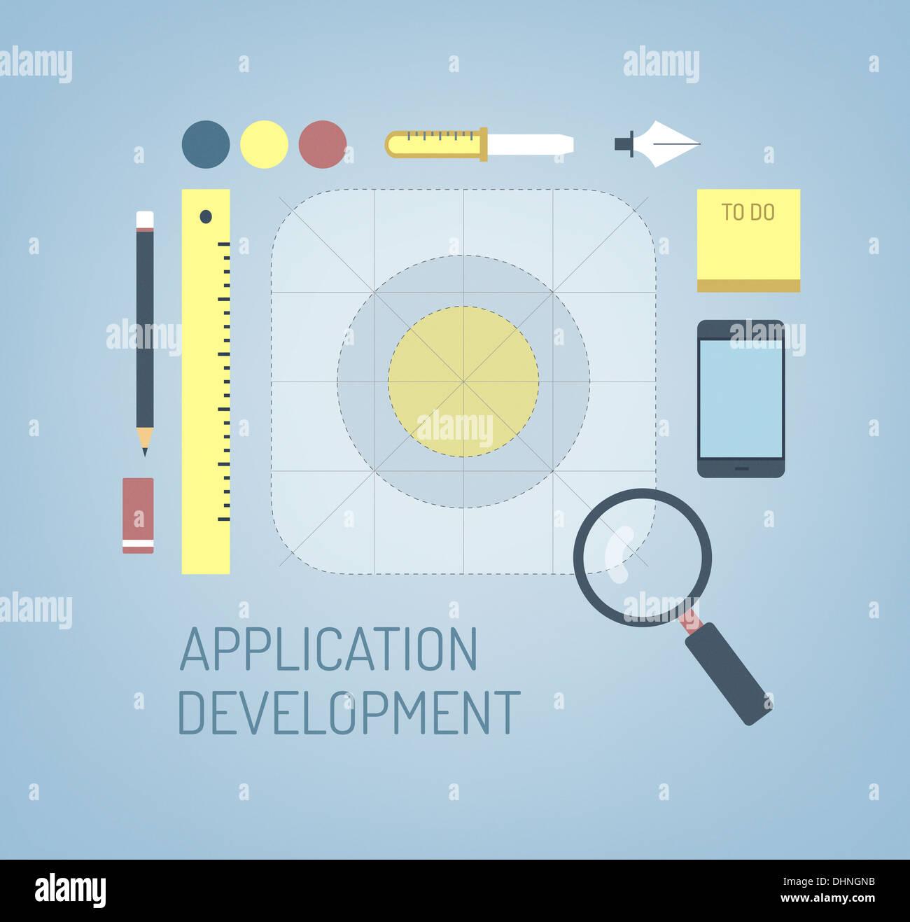 Illustrazione moderno concetto di ricerca, la creazione e il processo di sviluppo di una nuova applicazione icona per interfaccia mobile Immagini Stock
