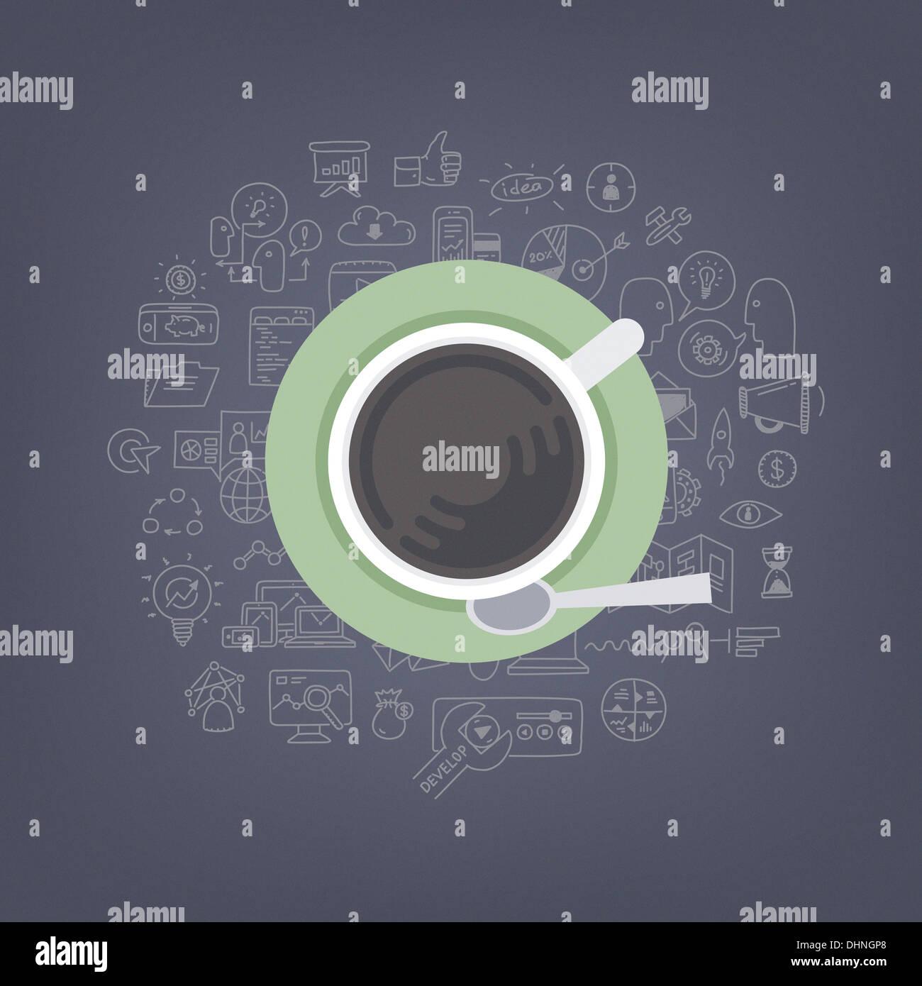 Illustrazione moderno concetto di pensare, di brainstorming e di sviluppo business e marketing idee mentre si beve il caffè Immagini Stock