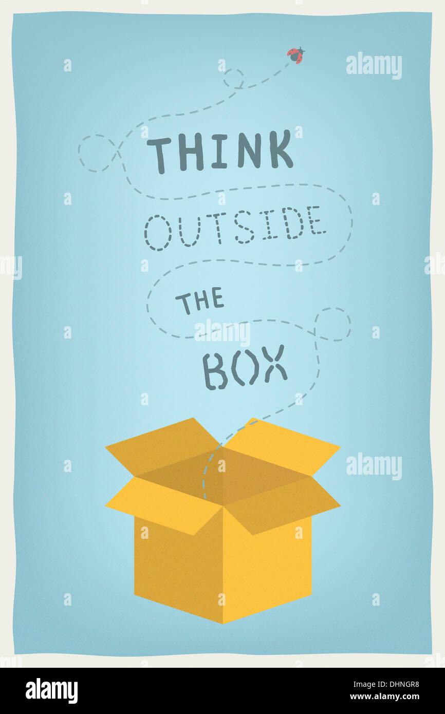 Illustrazione moderno concetto di motivazione e di pensiero positivo e mentalità creative con la mano il testo disegnato pensare al di fuori della casella Immagini Stock