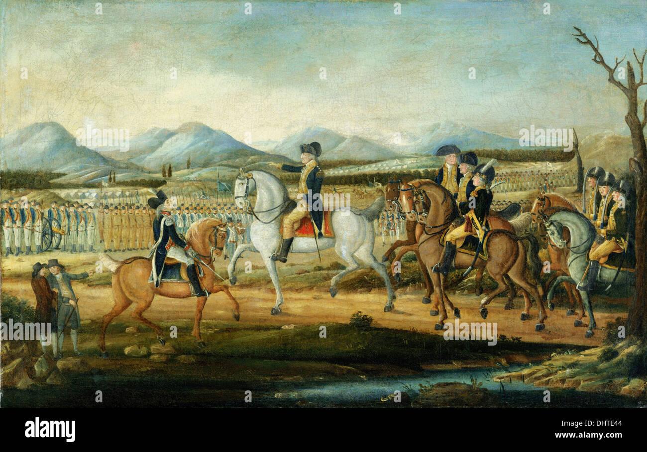 Washington rivedendo l'esercito occidentale, a Fort Cumberland, Maryland - da Federico Kemmelmeyer, 1795 Immagini Stock