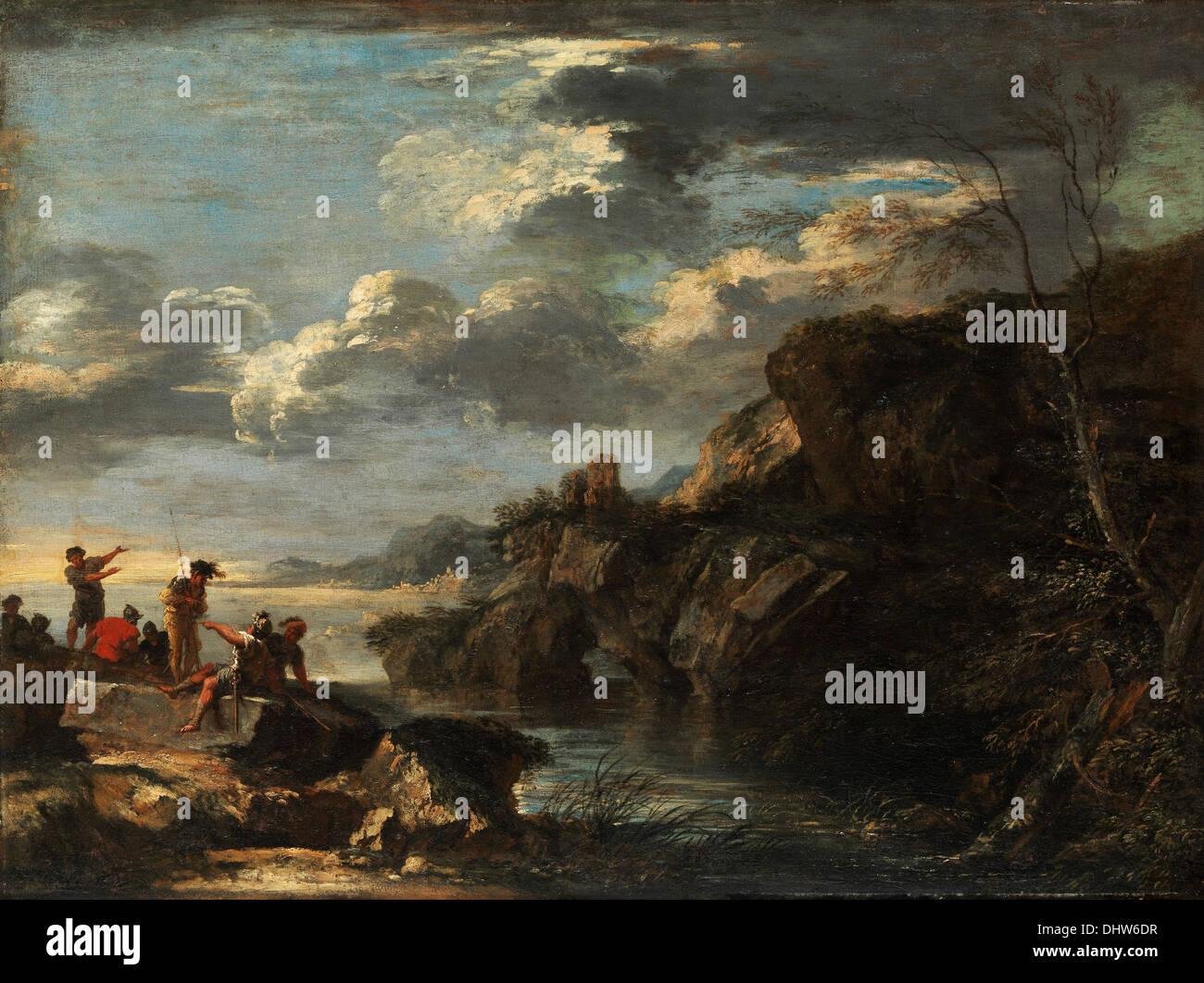 Banditi su una costa rocciosa - di Salvator Rosa, 1660 Immagini Stock
