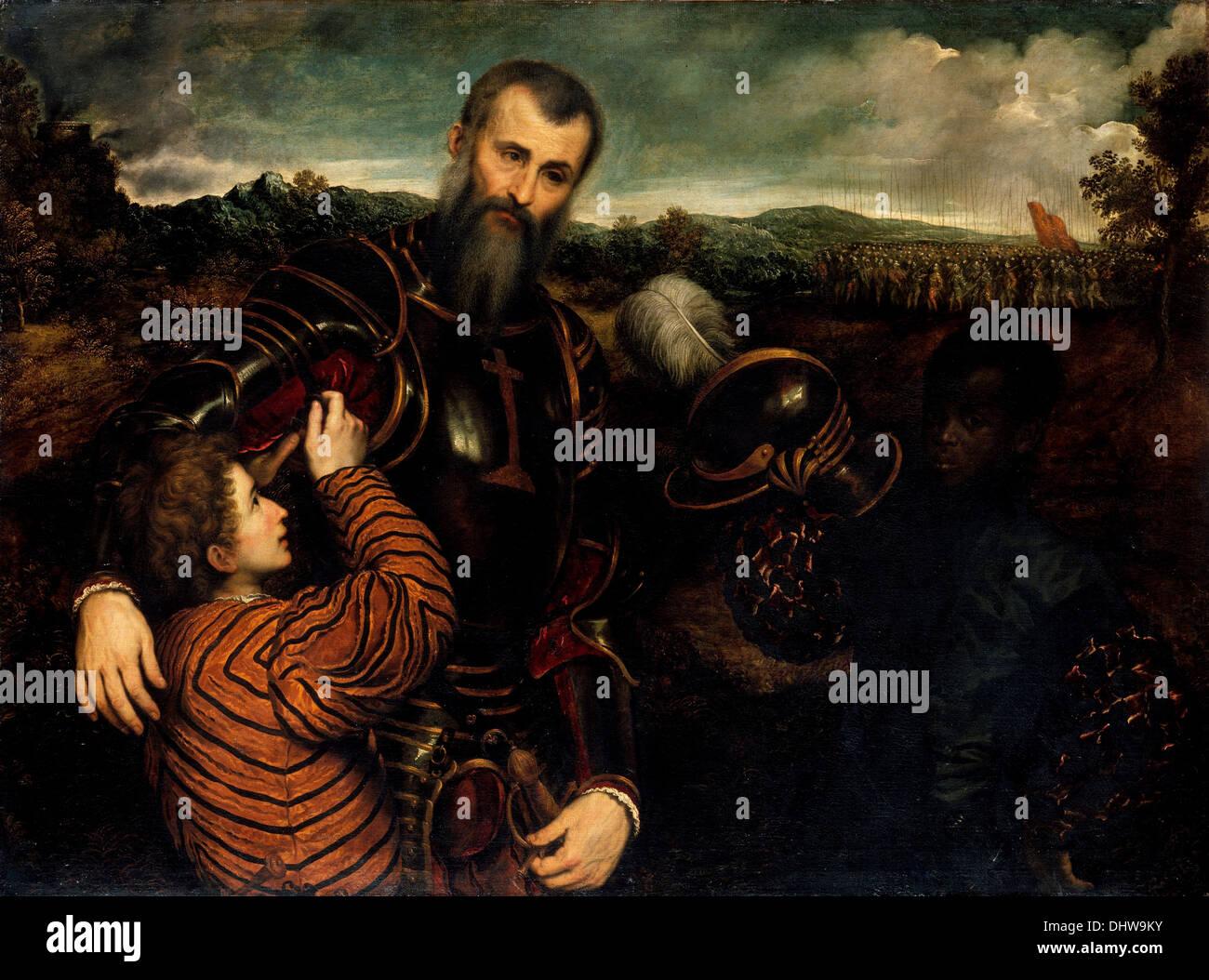 Ritratto di un uomo in armatura con due pagine - da Paris Bordon, 1500's Immagini Stock