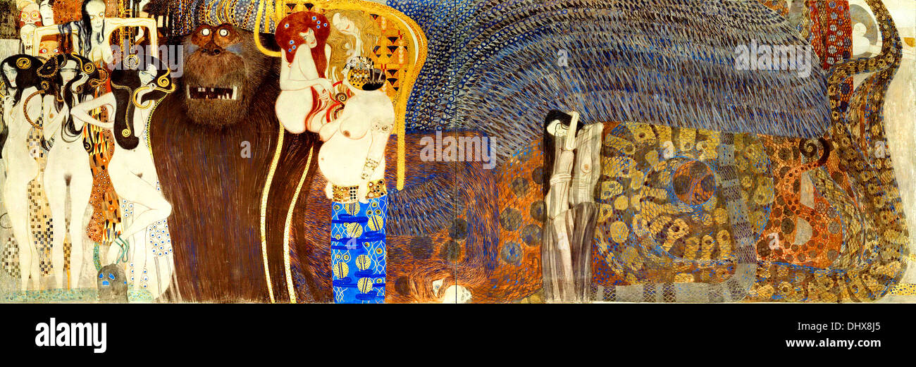 Le forze del male - da Gustav Klimt, 1902 Immagini Stock