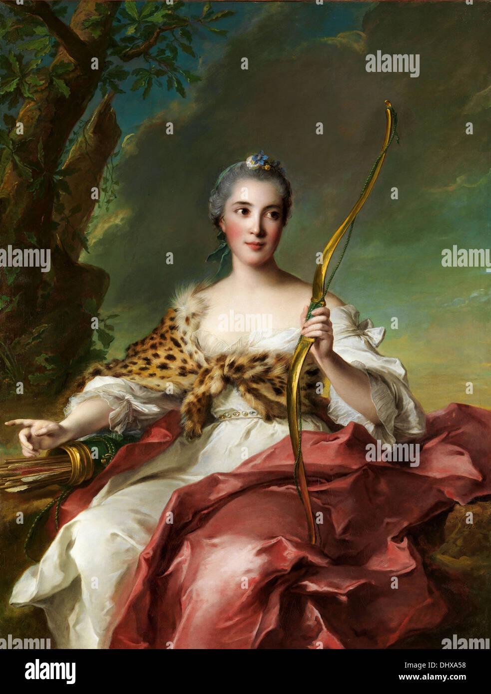 Madame de Maison-Rouge come Diana - da Jean Marc Nattier, 1756 Immagini Stock