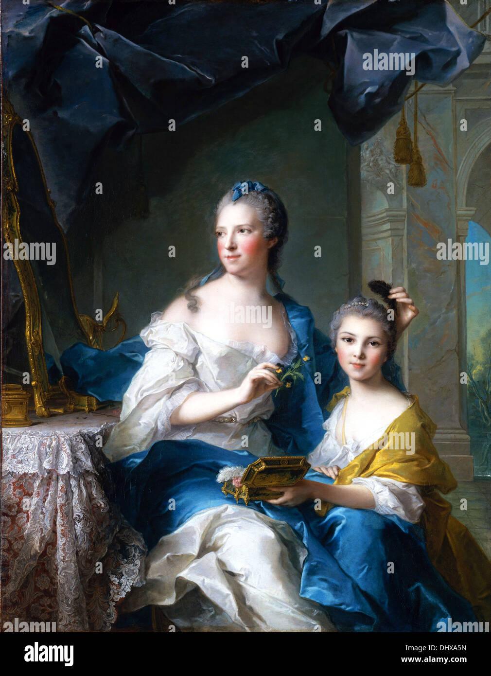 Madame Marsollier e sua figlia - da Jean Marc Nattier, 1749 Immagini Stock