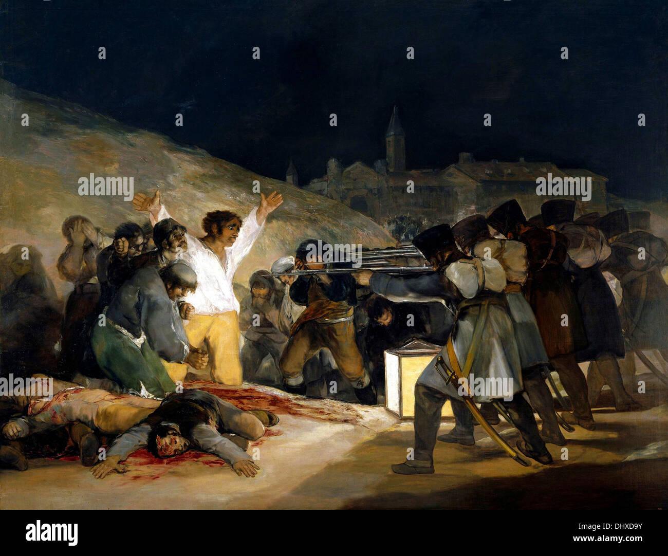 Il terzo del maggio 1808, l'esecuzione dei difensori di Madrid - di Francisco Goya, 1808 Immagini Stock