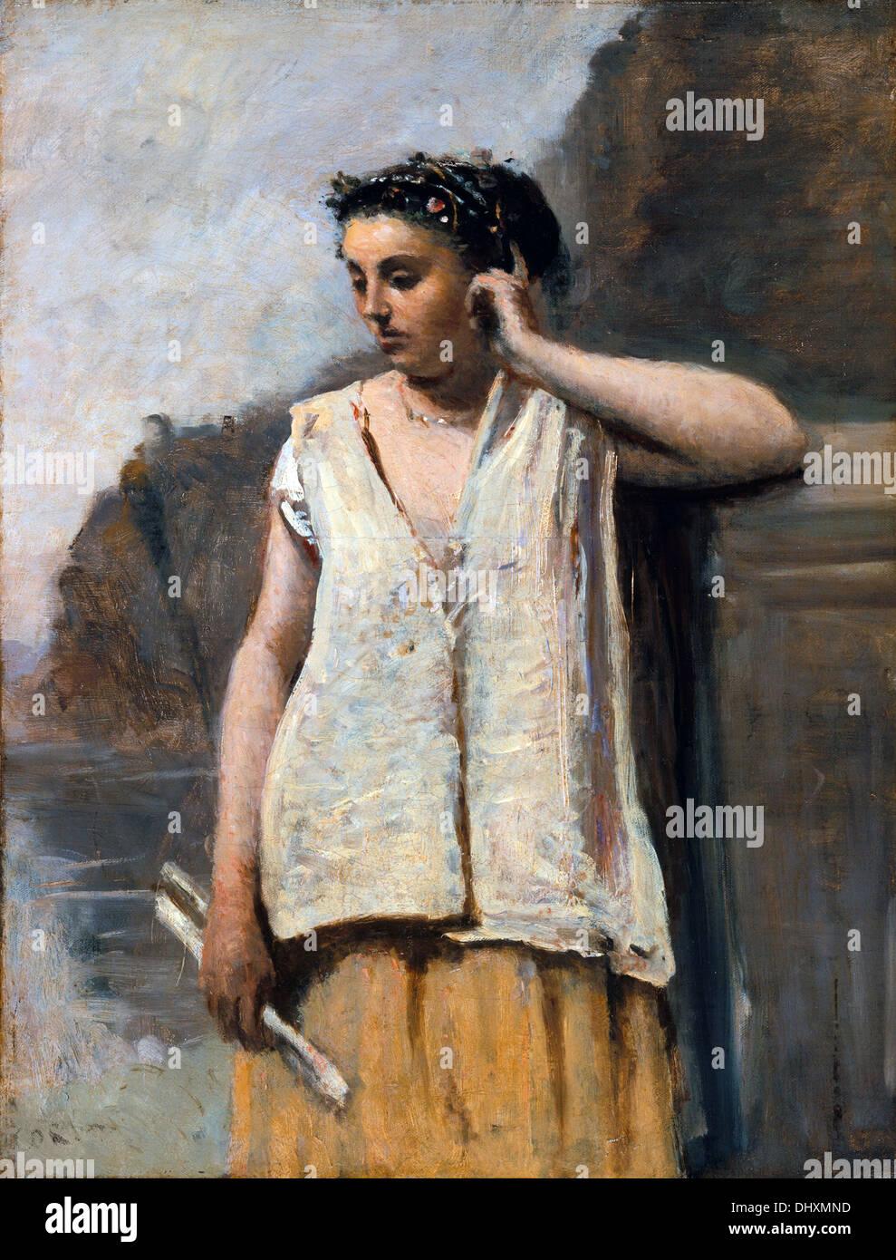 La musa - Storia - da Camille Corot, 1865 Immagini Stock