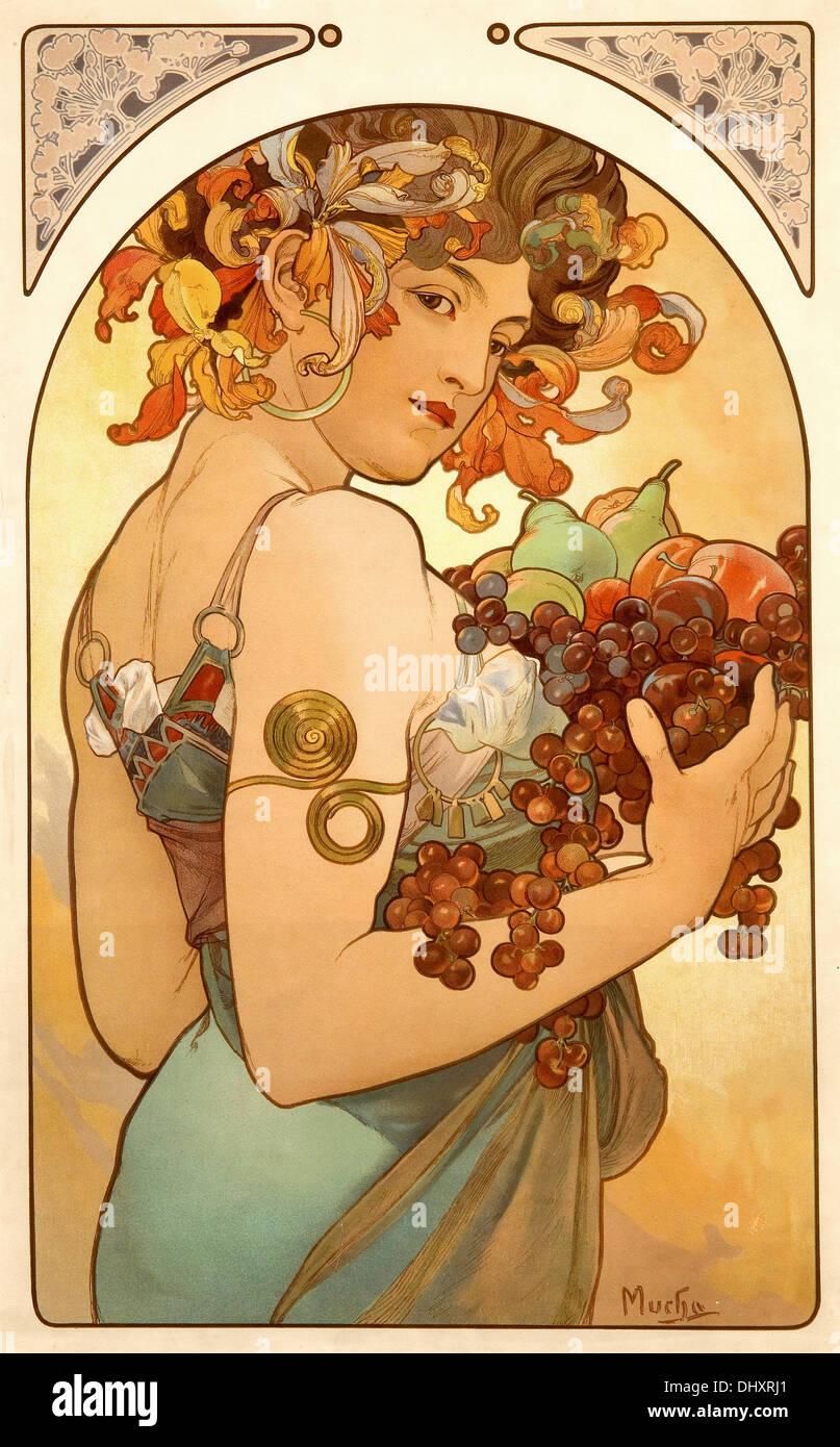 Frutta - da Alphonse Mucha, 1897 Immagini Stock