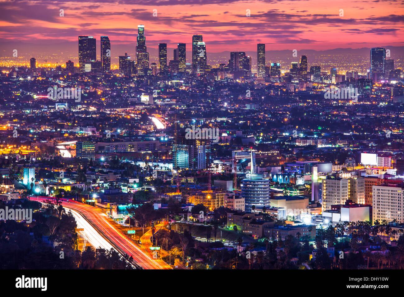 Il centro cittadino di Los Angeles, California, Stati Uniti d'America skyline all'alba. Immagini Stock